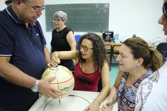 Paolo mostra a Sabrina, Loredana, Raffaella e Simona il movimento dell'asse terrestre