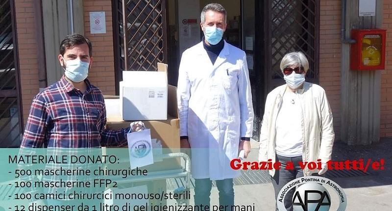 Consegna materiale all'ospedale Goretti di Latina