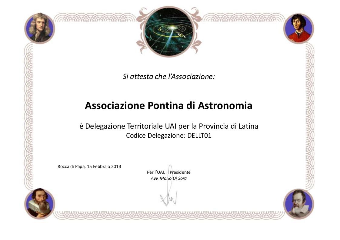Certificato delegazione Territoriale UAI