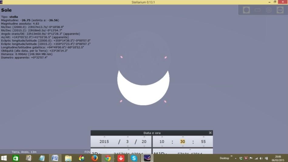 Simulazione copertura eclisse a Roma
