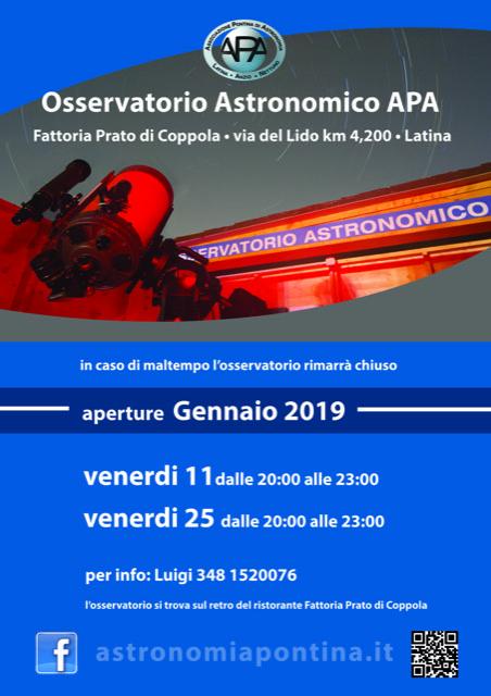2019 - APERTURE PUBBLICHE OSSERVATORIO - Venerdì 22 marzo 2019 - APA-LAN b0efebea553d